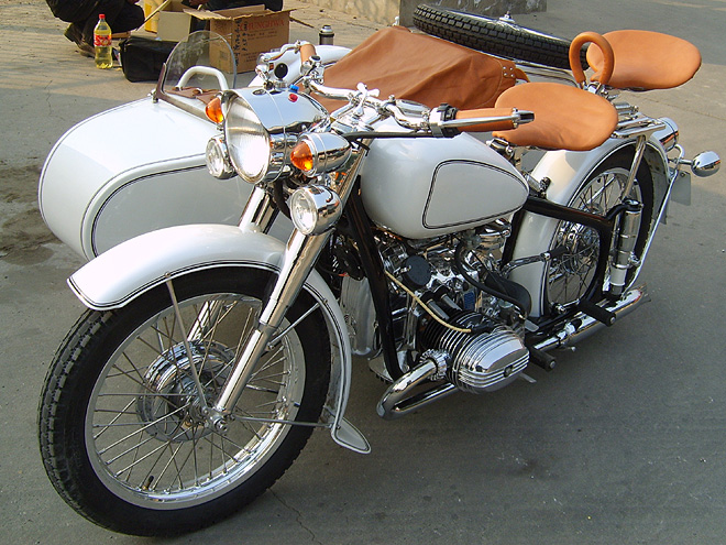 Beijing Sidecar Motorcycles White Black Pin Ohv